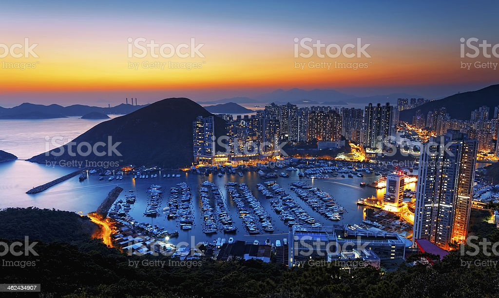 Hong Kong beautiful sunset , Aberdeen Typhoon Shelters Hong Kong beautiful sunset , Aberdeen Typhoon Shelters Aberdeen - Hong Kong Stock Photo