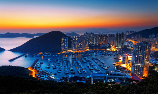 Hong Kong Beautiful Sunset Aberdeen Typhoon Shelters Stock Photo - Download Image Now