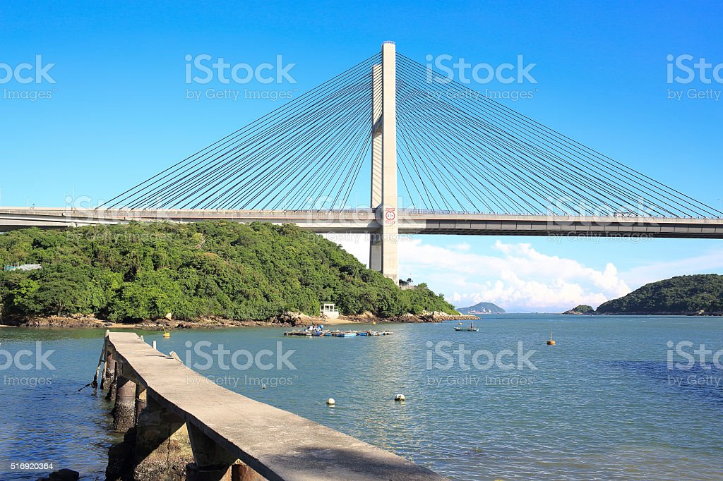 hong kong bridge, Tsing Ma stock photo