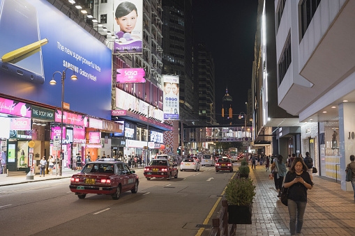 Hong Kong Canton Road Tsim Sha Tsui At Night There Is A Luxury Brands Shopping Street In Hong Kong Stock Photo - Download Image Now