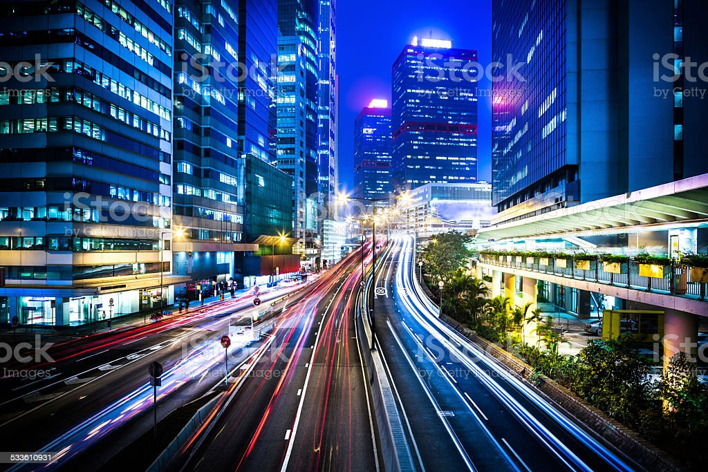 central district von Hong Kong am Abend – Foto