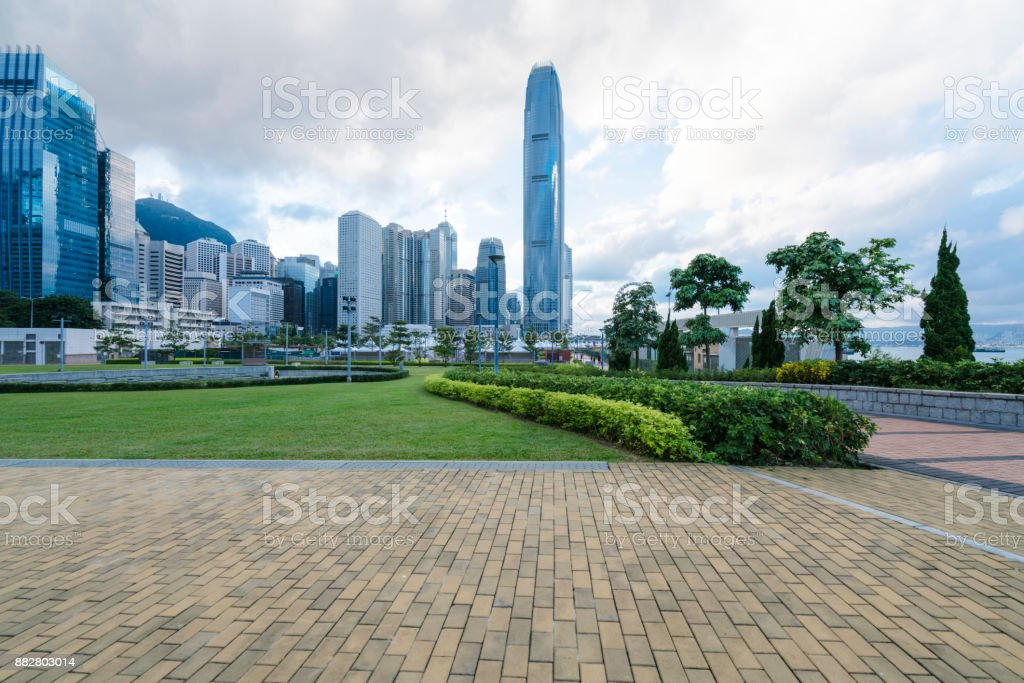 Hong Kong central district with city park stock photo