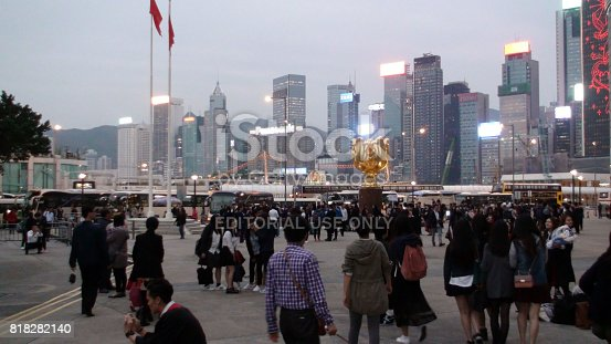 istock Hong Kong Christmas Light Show View From Golden Bauhinia Square In China.East Asia 818282140