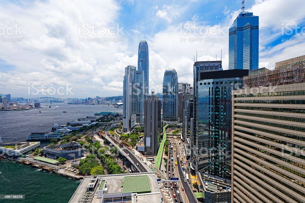 hong kong city at day stock photo