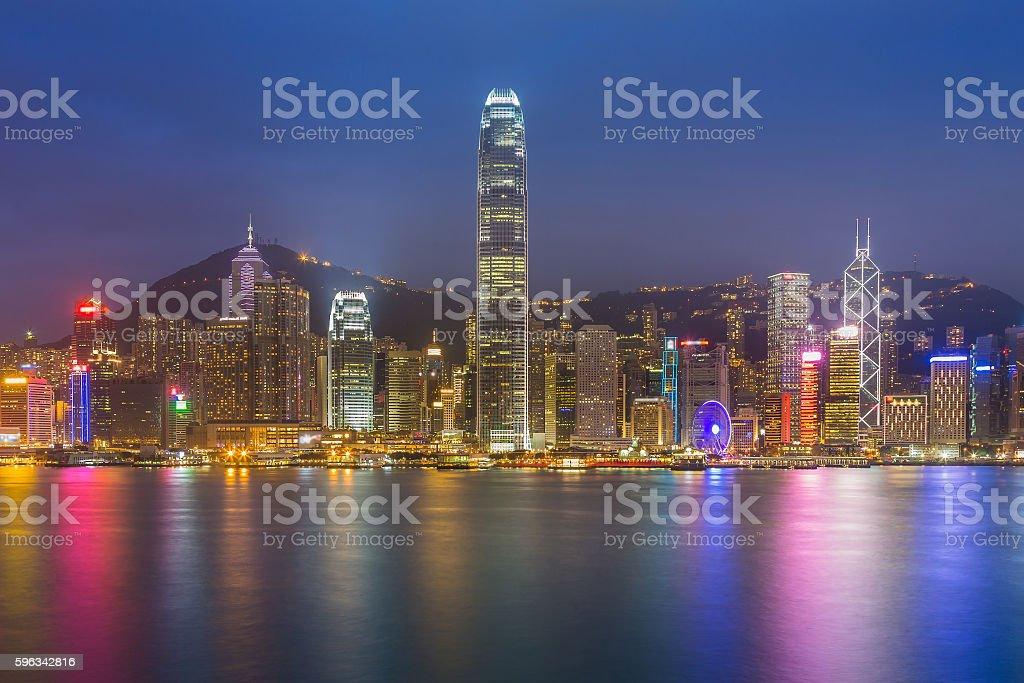 Hong Kong city lights nigh view waterfront royalty-free stock photo