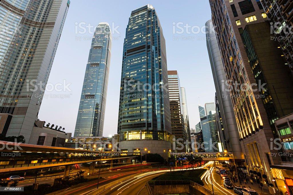 Hong Kong City Night, ifc towers stock photo