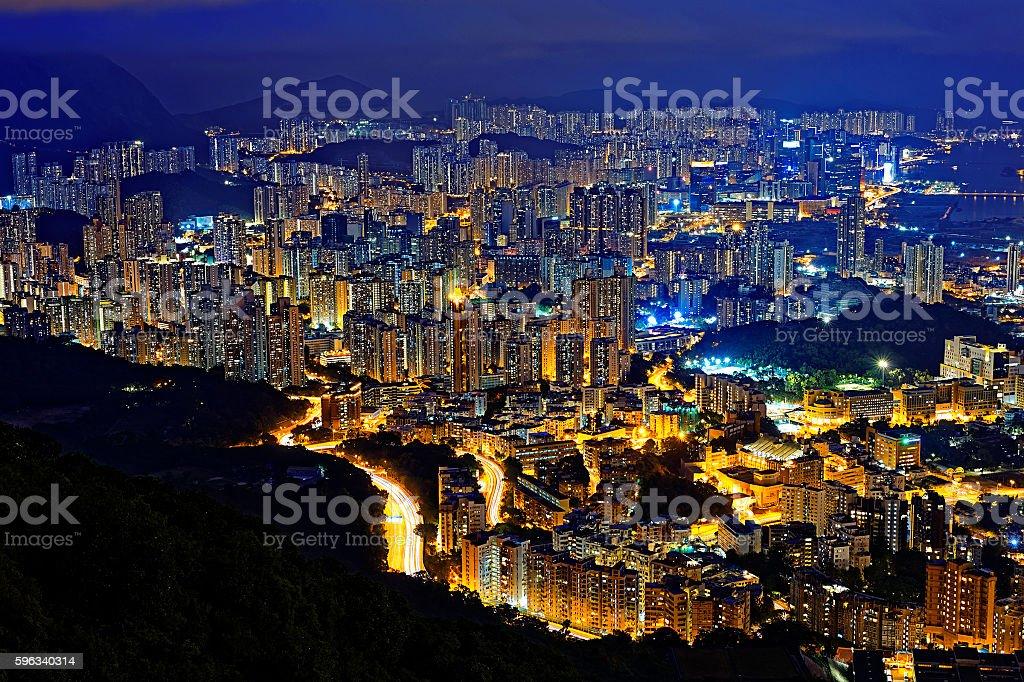 hong kong city night royalty-free stock photo