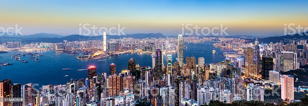 Hong Kong City Skyline and Harbour at Sunset China stock photo