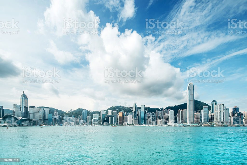 Hong Kong city with Victoria harbor stock photo