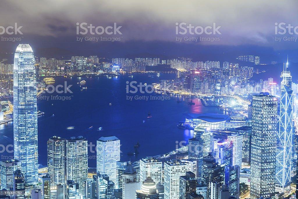 Hong Kong Cityscape at Night royalty-free stock photo