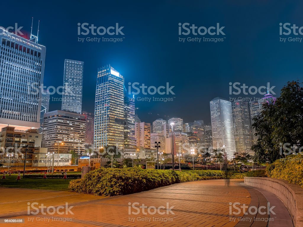 Hong Kong cityscape at night - Royalty-free Architecture Stock Photo