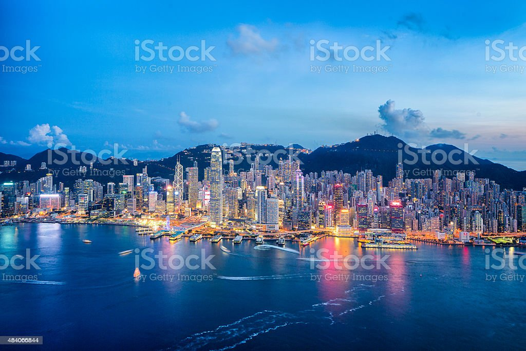 Hong Kong Cityscape from Air (Panorama XXL) stock photo