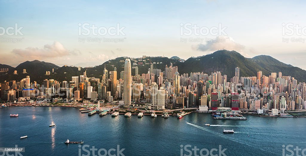 Hong Kong Cityscape in a Good Day (Panorama XL) stock photo