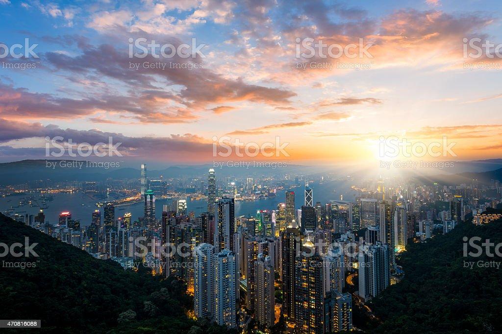 Hong Kong Cityscape - Royaltyfri 2015 Bildbanksbilder
