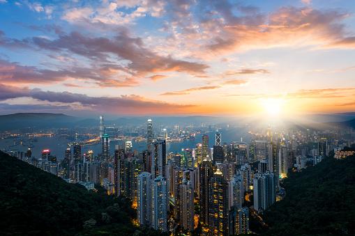 Hong Kong Cityscape-foton och fler bilder på 2015