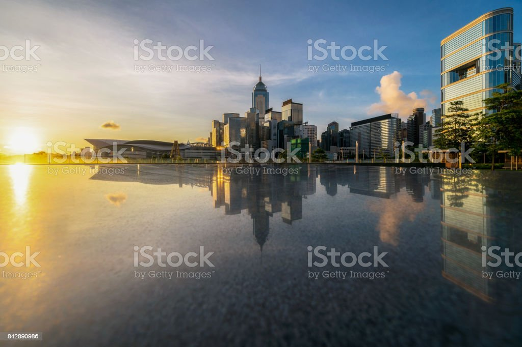 Hong Kong Cityscape river view at the sunrise time, Business concept of architecture stock photo