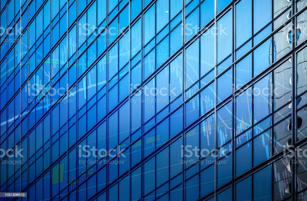 Hong Kong commercial buildings with graph index of stock Market