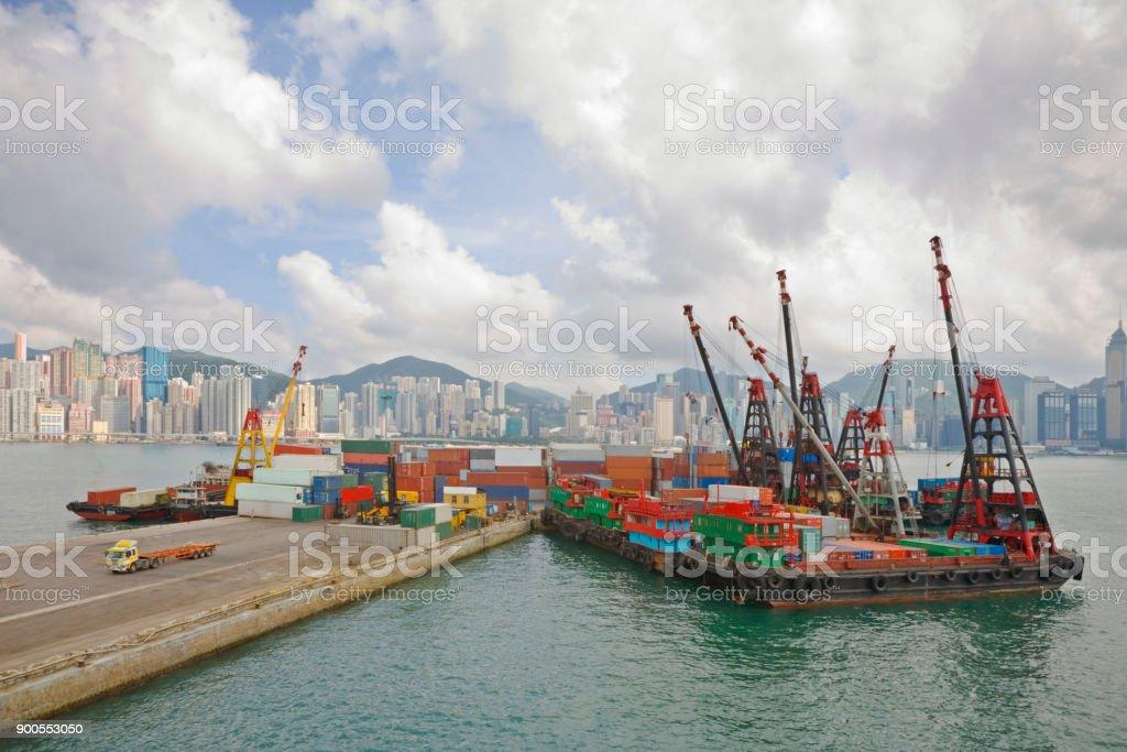 Hong Kong Container Handline stock photo