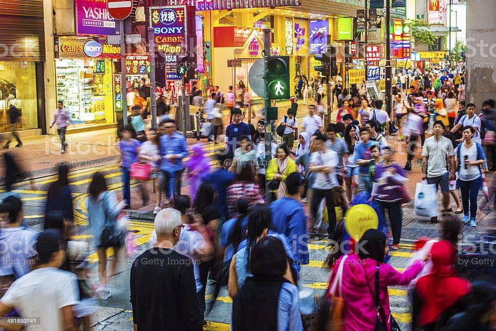Hong Kong Crossing Crowds stock photo