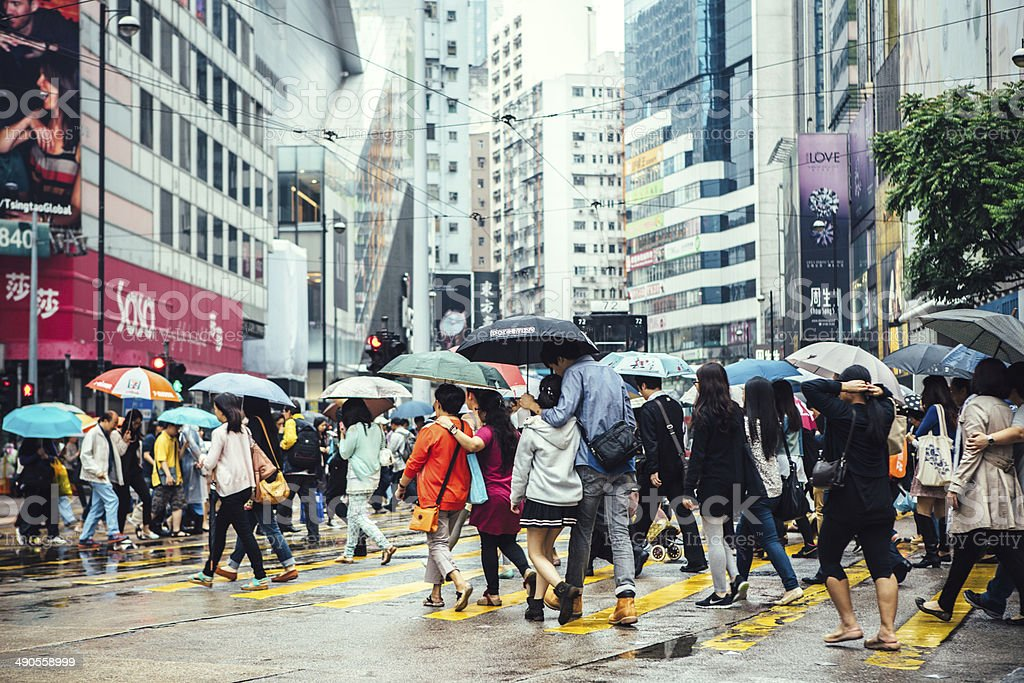 Hong Kong Crosswalk stock photo