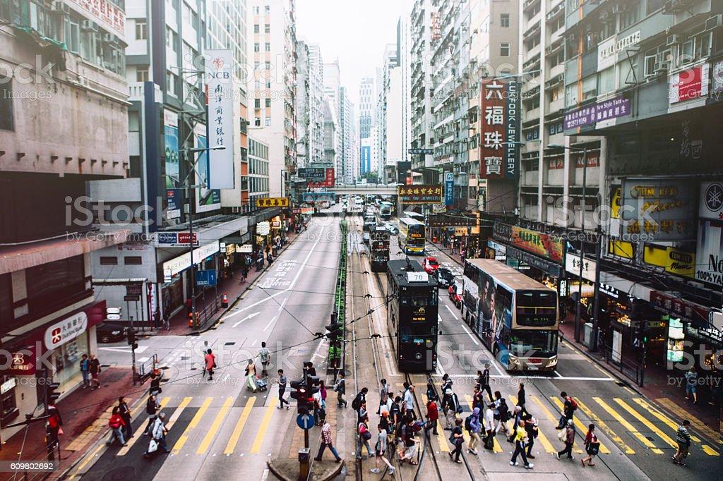 Hong Kong Crosswalk stock photo