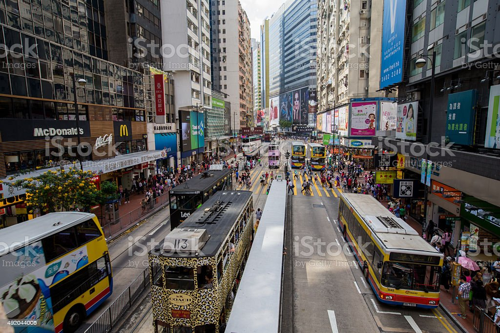 Hong Kong crowded street view at shopping district stock photo