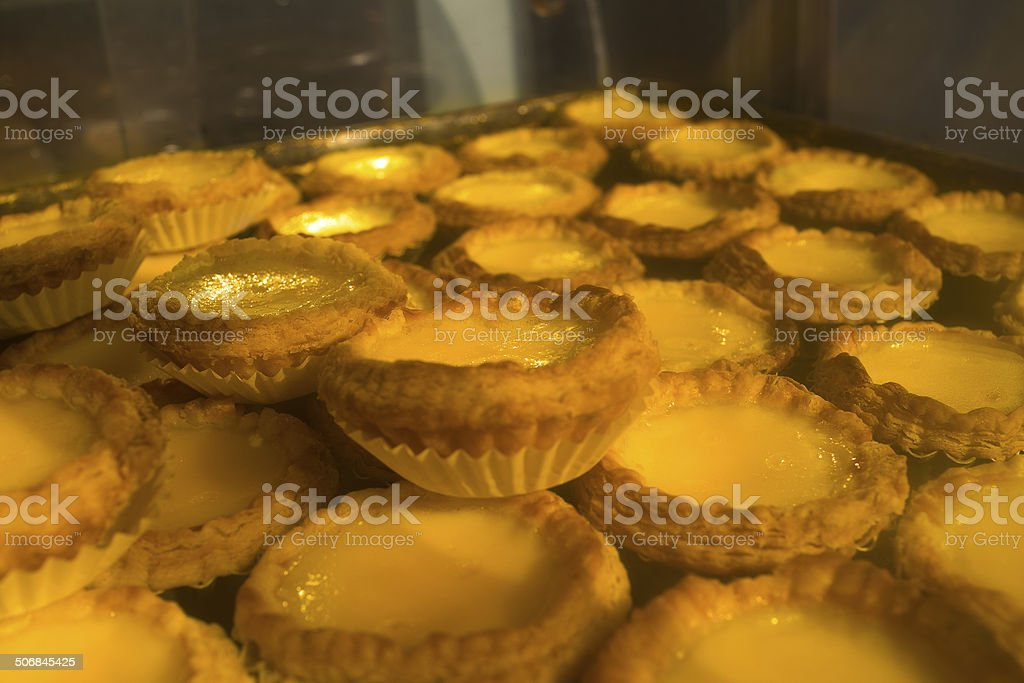Hong Kong dim sum egg tarts stock photo