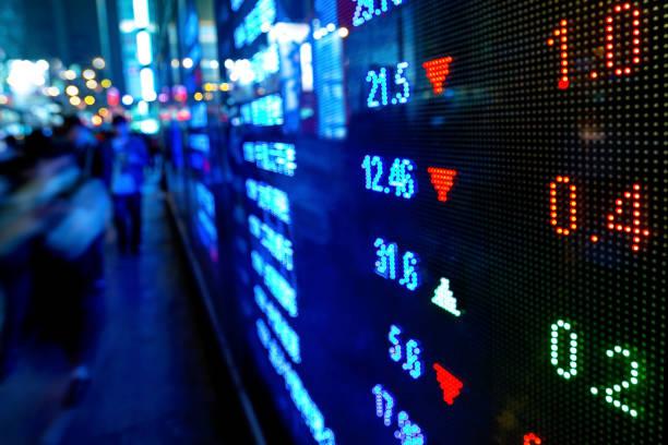hong kong stock market diagrammen anzeigen - kurstafel stock-fotos und bilder