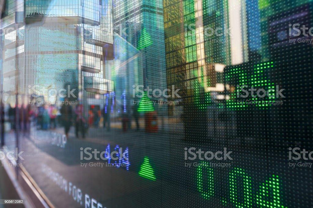 Datos de mercado de valores de exhibición de Hong Kong - foto de stock