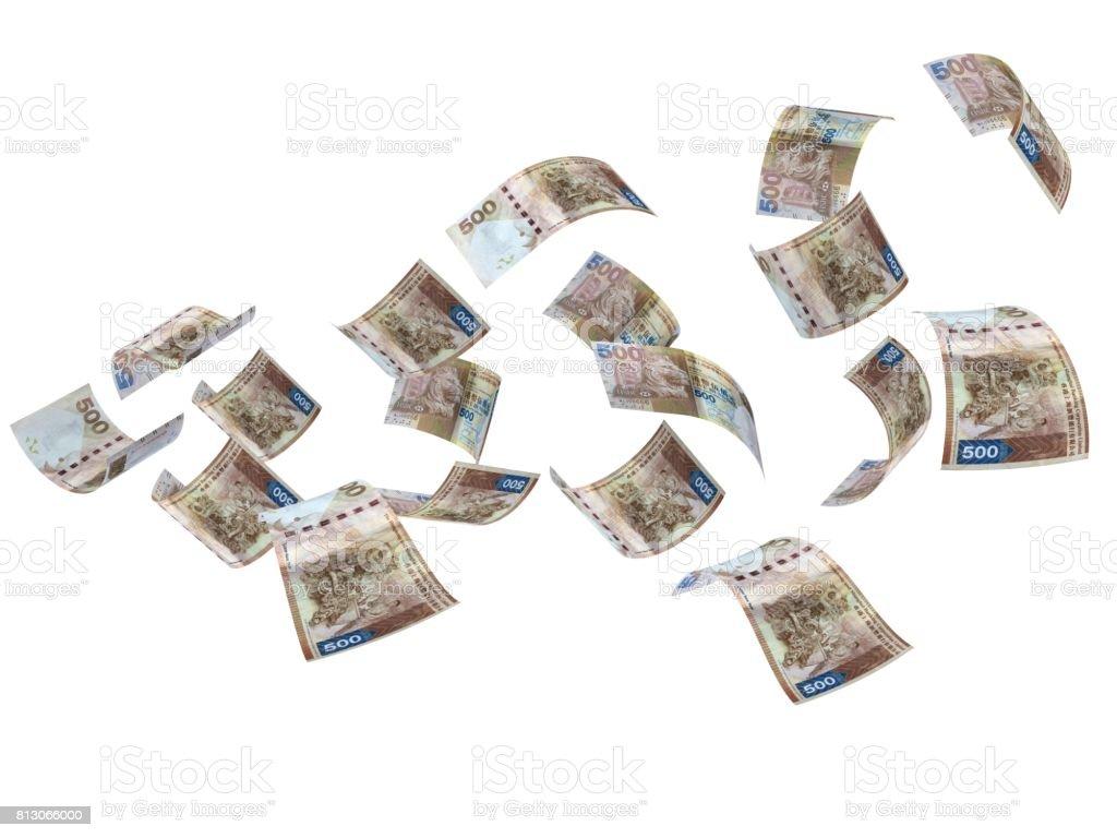 Hong Kong dollar falling money concept stock photo