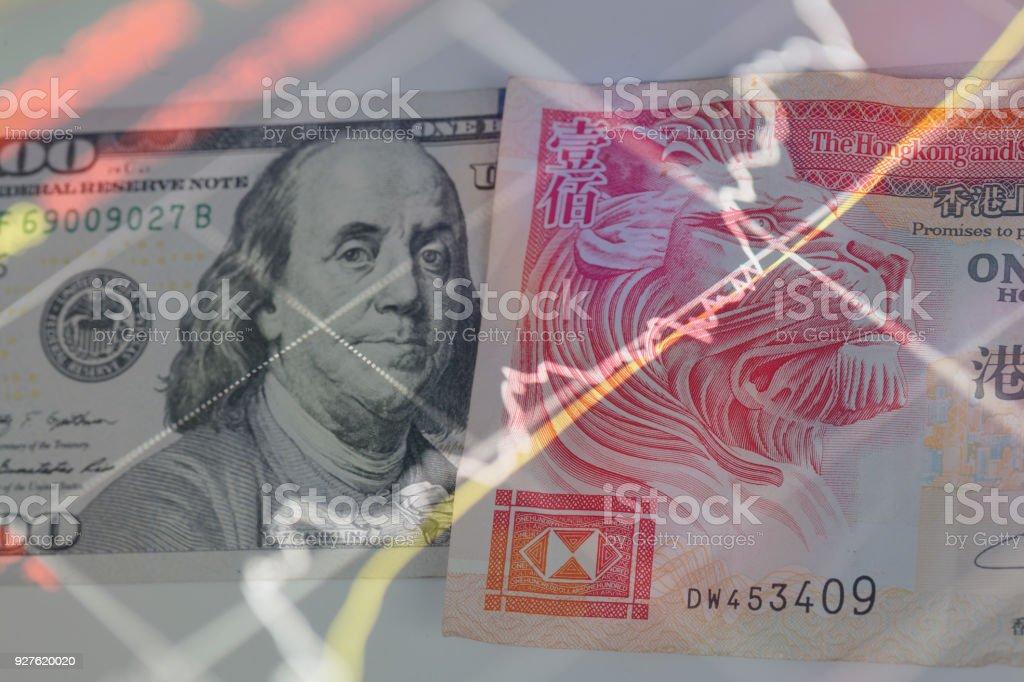 100 hong kong dollar with 100 us dollar stock photo