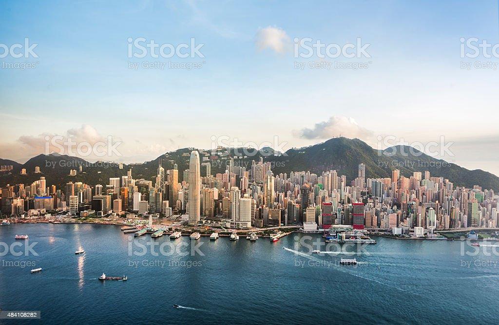 Hong Kong Downtown in a Good Day (Panorama XXXL) stock photo