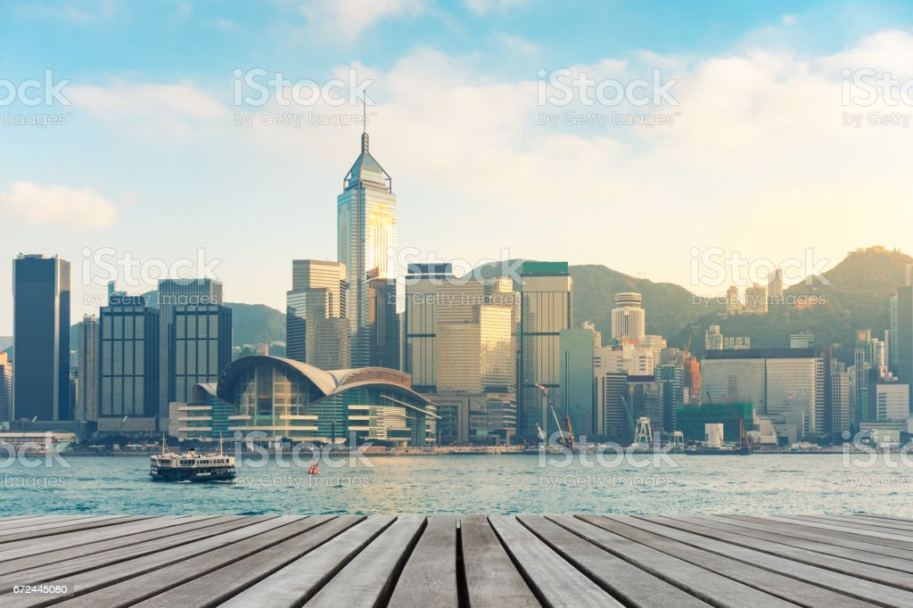 Hong Kong downtown on daylight shot. stock photo