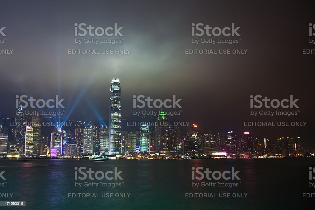 Hong Kong famous Laser harbor Show royalty-free stock photo