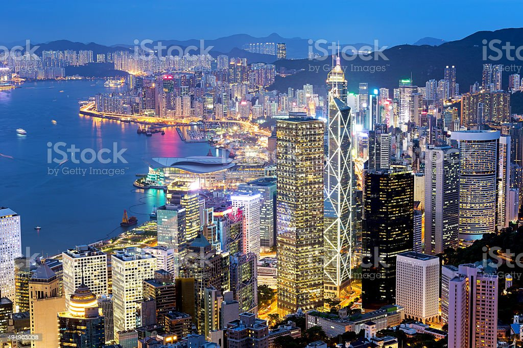 Hong Kong Famous Night View stock photo