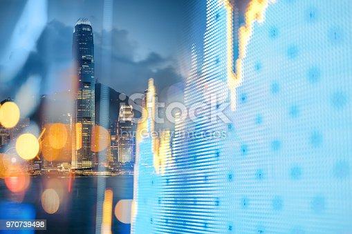 Stock Market Data, Hong Kong, Cityscape, Stock Market Data, Graph