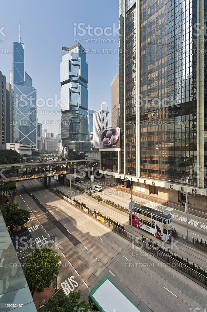 Hong Kong financial district futuristic skyscrapers China stock photo