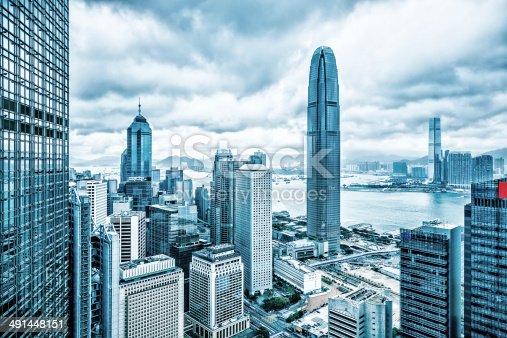 Hong Kong financial district, Victoria Harbour between Hong Kong Island and Kowloon, view from Victoria Peak, Hong Kong