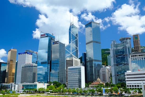 hong kong financial district - hong kong foto e immagini stock