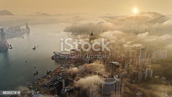 Hong Kong from air at sun rise
