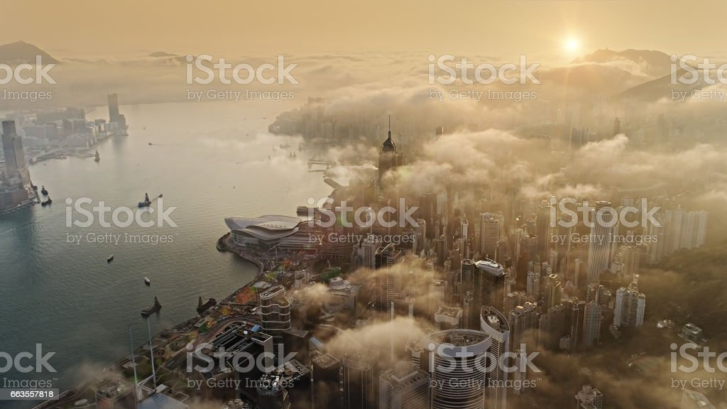 Hong Kong from air at sun rise stock photo