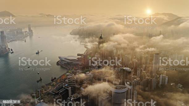 Hong Kong From Air At Sun Rise Stock Photo - Download Image Now
