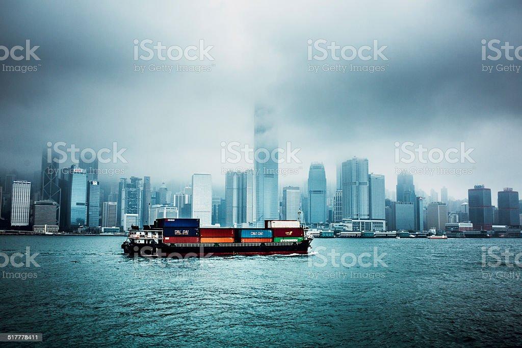 Hong Kong from Harbor and Cargo Ship royalty-free stock photo