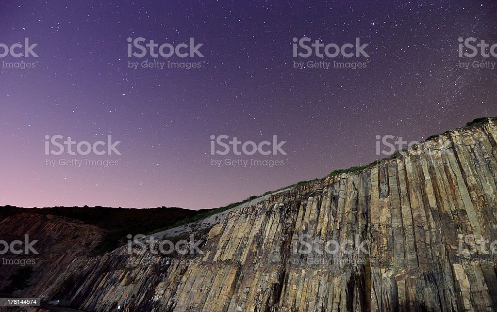 Hong Kong Global Geopark at Night with Starry Sky royalty-free stock photo