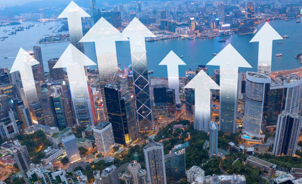 Hong Kong growth illustrated by arrows stock photo