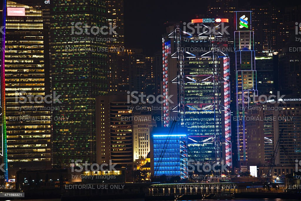 Hong Kong Harbor Laser Show to Skyline of Victoria royalty-free stock photo