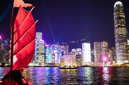 Hong Kong Harbor View From Junk Boat At Night Stock Photo - Download Image Now