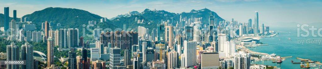 Hong Kong Hafen Luftbild Panorama über überfüllten Wolkenkratzer Stadtbild China – Foto