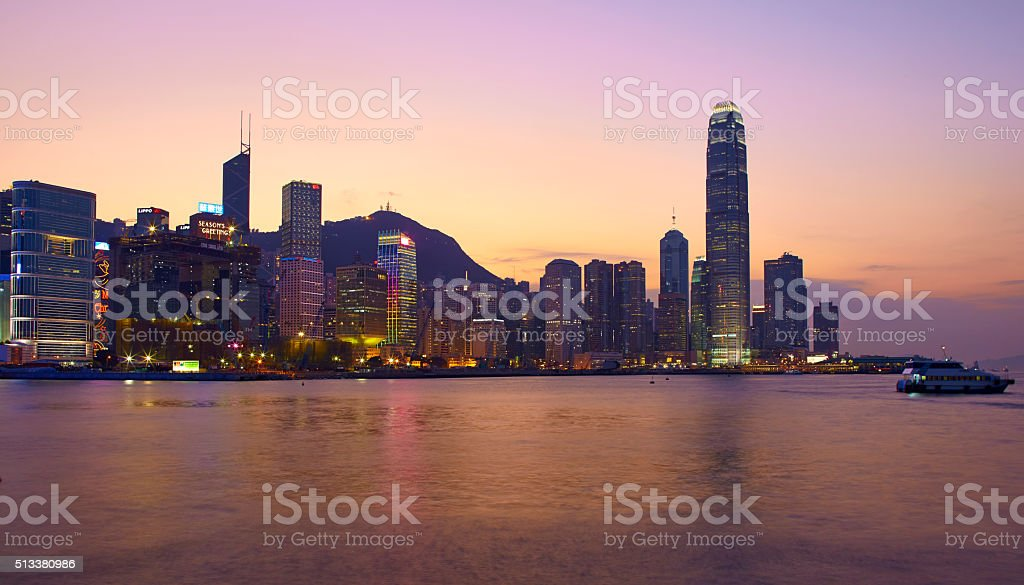 Hong Kong Harbour At Christmas stock photo