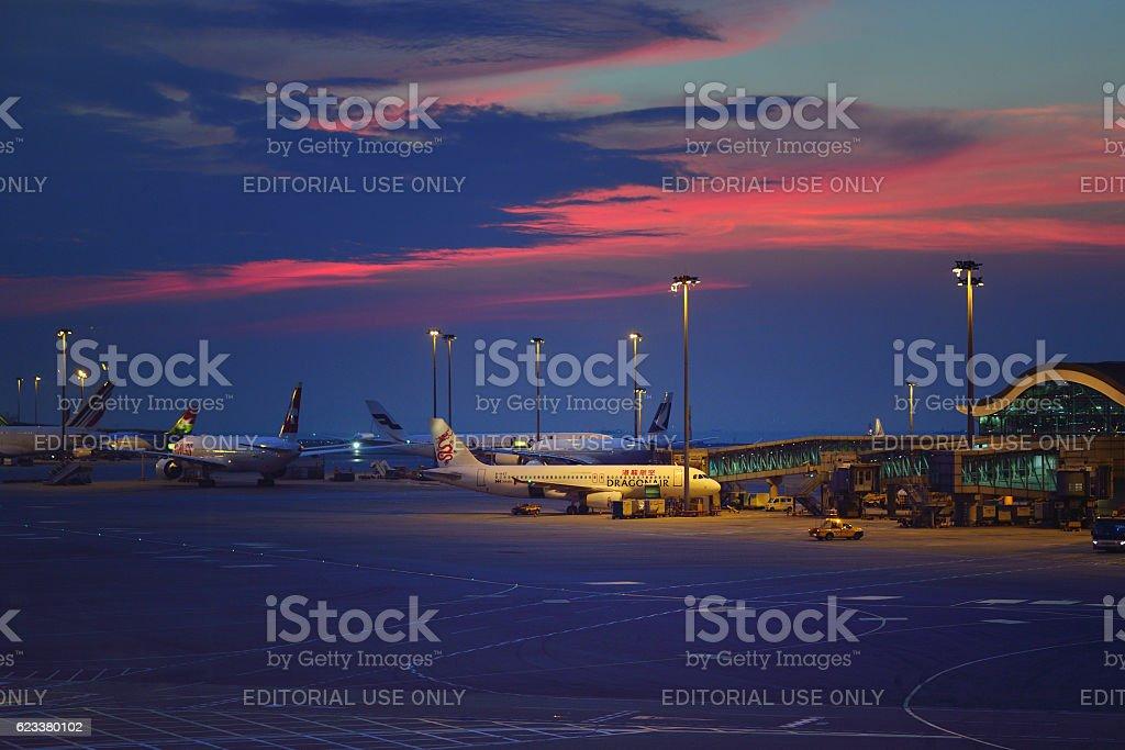 Hong Kong International Airport Parking Apron - foto de acervo